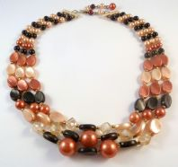 Vintage Triple Stranded Black And Pearl Bead Necklace.